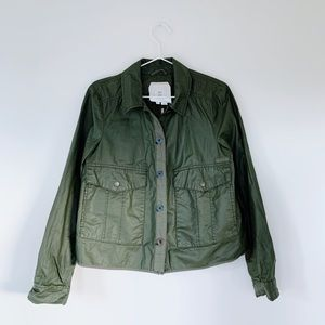 Anthropologie Hei Hei Waxed Canvas Jacket Green S